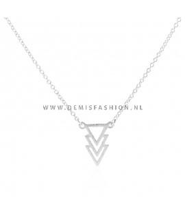 Zilverkleurige driehoek ketting