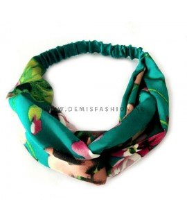 Groene bloemen haarband