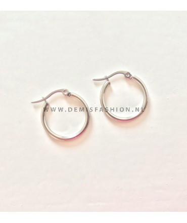 Zilverkleurige ringetjes oorbellen