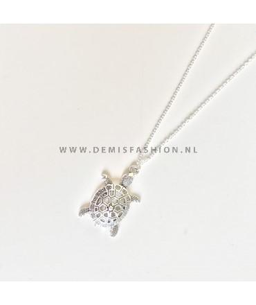 Schildpad ketting zilverkleurig