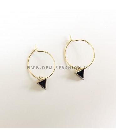 Oorbellen zwarte driehoek