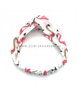 Flamingo haarband wit