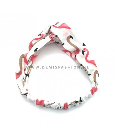 Flamingo haarband wit