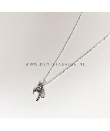 Eenhoorn ketting zilverkleurig