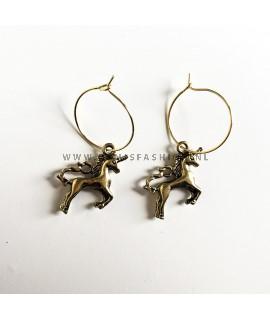 Eenhoorn oorbellen goudkleurig