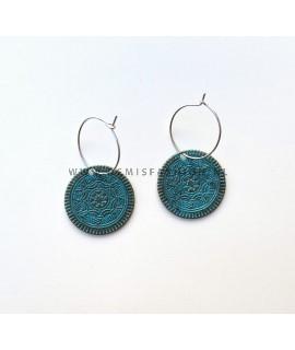 Blauwe munt oorbellen