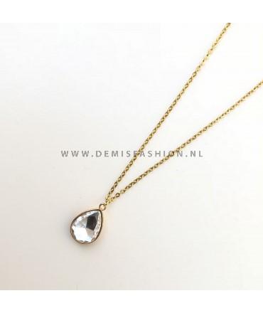 Ketting met zilveren steen